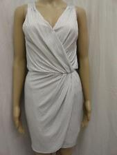 WOMEN'S GUESS WHITE STRIPED METALLIC V-NECK STRETCH WRAP DRESS SZ-XS,S,L (NWT)