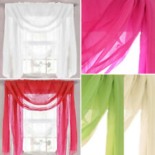 Plain Tailored Sheer Voile Scarf – Net Valance Pelmet for Curtains - Single
