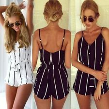 Summer Womens Vintage Striped Print Sleeveless Playsuit  Jumpsuits Black&White