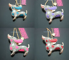 B645  Betsey Johnson Crystal Colorful Enamel Dachshund Puppy Pendant Necklaces .