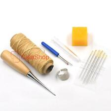 Awl Needles & Thread beeswax thimble ring Seam Ripper Leather Craft Sewing Tools
