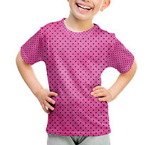 Hot Pink Polka Dots Kids Cotton Blend T-Shirt Unisex All-Over-Print