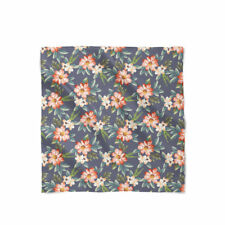 Hawaiian Dark Flowers Satin Style Scarf - Bandana in 3 sizes