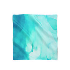 Blue Abstract Watercolor Satin Style Scarf - Bandana in 3 sizes