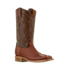 mens cognac brown crocodile square toe cowboy leather boots western rodeo