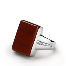 Mans Ring Sterling Silver Natural Red Agate Tiger's eye Onyx Mens Ring All sizes