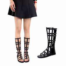 Sexy Summer Gladiator Sandals Knee High Lace Up Zip Flat Roman Women's Shoes