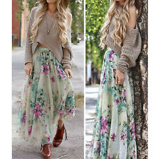New Women Stylish Summer Beach Casual Floral Gypsy Boho Long Maxi Pleated Skirt
