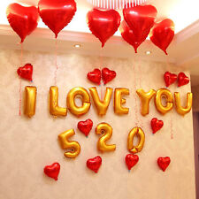 Lot Digital Letters Heart Shape Foil Balloons Birthday Wedding Party Decorations