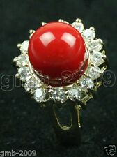 New Fashion Women's 10mm Coral Red South Sea Shell Pearl Crystal Ring Size 7/8/9