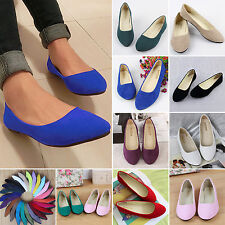Women's Slip On Rounded Toe Ballet Flat Shoes Summer Suede Dolly Pumps Loafers