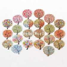 Best Quality Buttons 50 Pcs Wood Sewing Decorative Tree Pattern Scrapbook 30mm