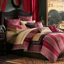 Sari Comforter Set Queen Size 100% Cotton Bedroom Bedding Red and Gold