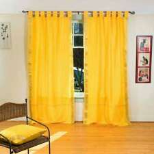 Yellow  Tab Top  Sheer Sari Curtain / Drape / Panel  - Piece