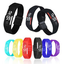 Mens Womens Watches Rubber LED Watch Date Sports Bracelet Digital Wrist Watch UK