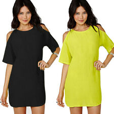 Boho Summer Womens Short Sleeve Off Shoulder Tops Shirt Chiffon Blouse Dress