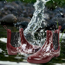 Women Rain Boots Pull On Low Rubber Wellies Ankle Flat Clear Short Jelly Shoes