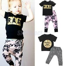 Newborn Baby Boy Girls Casual T-shirt Top+Pants Outfits Summer Clothes Set 0-24M