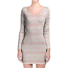 Lace on Pink Longsleeve Bodycon Dress XS-3XL All-Over-Print