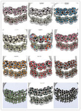 5pcs CRYSTAL Retro silver SPACER BEADS FIT European Beads Charm Bracelet 13Color