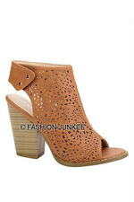 CAMEL BROWN LASER OPEN TOE Booties Shoes Stacked Chunky Heels Ankle Peep 5.5-10