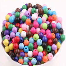 Lots 50/100pcs Mixed Round Acrylic Loose Spacer Beads Charm 6mm Jewelry Making