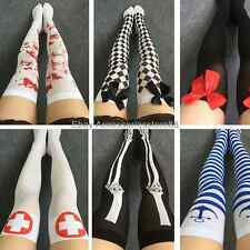 Punk Gothic Cosplay Bowknot Skull Blood Striped Overknee Thigh High Stockings