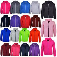 New Kids Girls Boys Unisex Plain Fleace Hoodie Zip Up Style *1st Class Dispatch