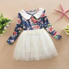 New Toddler Baby Girls Kids Autumn Clothes Long Sleeve Party Princess Tutu Dress