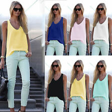 Summer Womens Sleeveless Chiffon Vest Tank Tops V-neck Casual Shirt Blouse Tee