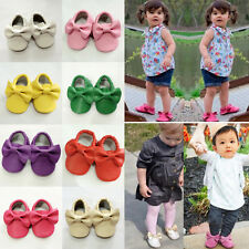 Hot Baby Girls Infant Toddler Soft Sole Non-Slip Bow Artifical PU Shoes 9 Colors