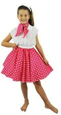 GIRLS PINK 1950'S CIRCLE SKIRT NECK TIE WHITE POLKA DOT FANCY DRESS DANCE HOP