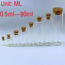 0.5ML~90ML Clear Glass Bottles With CorksSmall Vials Jars Sample Empty Wholesale