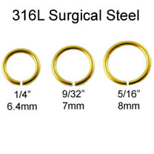 316L Surgical Steel Nose Ring Septum Hoop Seamless Anodized Gold 18 Gauge 18G