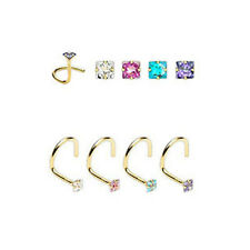 14KT Solid Gold Nose Screw Ring Stud 2mm CZ Square 20G