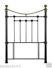 Metal Headboard 4ft 6 Double In Stone White or Satin Black & Brass Finials. LOU