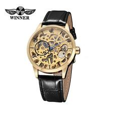 WINNER Men Ladies Gold Skeleton Hand-winding Mechanical Leather Wrist Watch J3A3