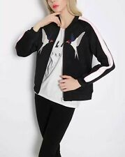 New Womens Animal Bird Embroidered Scuba Bomber Baseball Jacket Coat