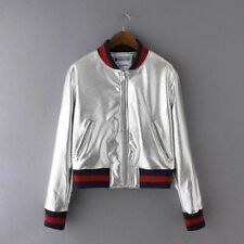 New Womens Gold/Sliver Faux Leather Zip Up  Bomber Baseball Jacket Coat