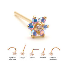 Yellow Gold Nose Ring Stud Screw Bone L Bend Purple Aurora Flower 18G 20G 22G