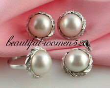 DM14 HUGE 20mm white south sea mabe pearl earring ring Pendant Silver standard