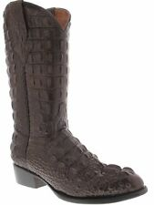 mens brown full alligator horn back crocodile western cowboy boots round toe