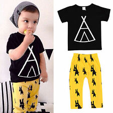 Baby Boys Kids Short Sleeve T-shirt Tops Tee Pants Trouser Outfits Clothes Sets