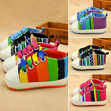 Infant Toddler Baby Boy Girl Soft Sole Crib Pram Shoes Pre Walker Canvas Sneaker