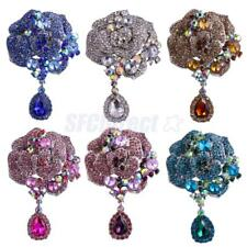 Vintage Large Flower Women Lady Party Crystal Rhinestone Brooch Pin Accessories