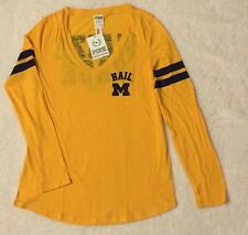 VICTORIAS SECRET PINK Collegiate Michigan Wolverines Long Sleeve T Shirt Size M