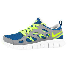 NIKE FREE RUN 2 GS RUNNING SHOES TRAINERS 443742-405 BLUE GREY VOLT 3 4.0 5.0