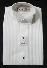 New 100% Cotton Medium Mens Wing Collar White Tuxedo Shirt Butterfly Tip Wedding