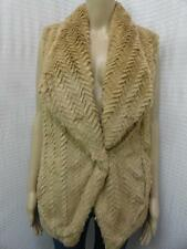 WOMEN'S WILD FLOWER BROWN SLEEVELESS FAUX FUR ONE HOOK CARDIGAN SZ-M,XL (NWT)
