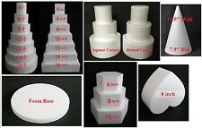 """Cake Dummy Solid Foam Mould 8"""" 10"""" 12"""" 16"""" 18"""" Cube Round Square Heart 0.8"""" Base"""
